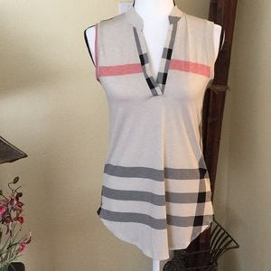 Tops - Brand new boutique top, taupe plaid sleeveless